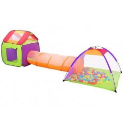 Dětský hrací stan set s tunelem a míčky 200 ks