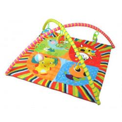 Dětská hrací podložka s hrazdou a hračkami na zavěšení