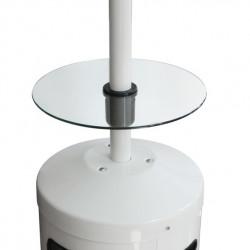 Výškově nastavitelný skleněný stolek.